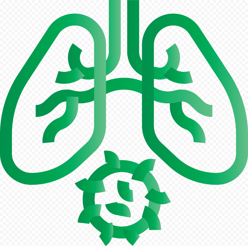 Green Lungs With Coronavirus Shape Icon Covid19
