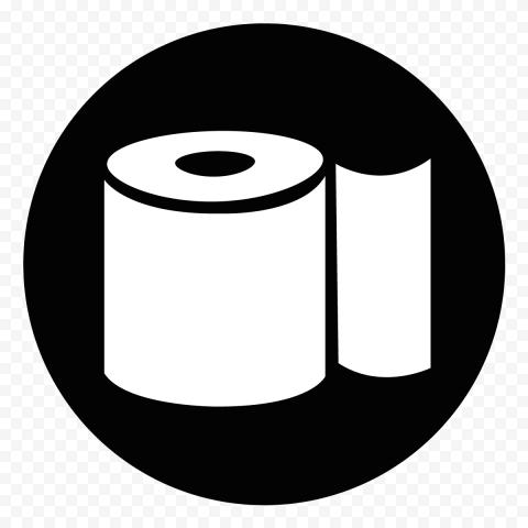 Toilet Paper Roll Black & White Round Icon Vector