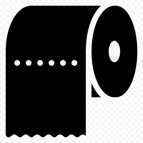Black Toilet Wc Napkin Paper Roll Icon Vector