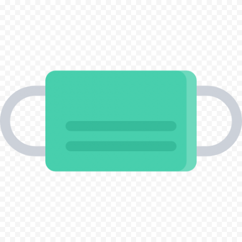 Surgical Mask Flat Shape Green Icon Vector