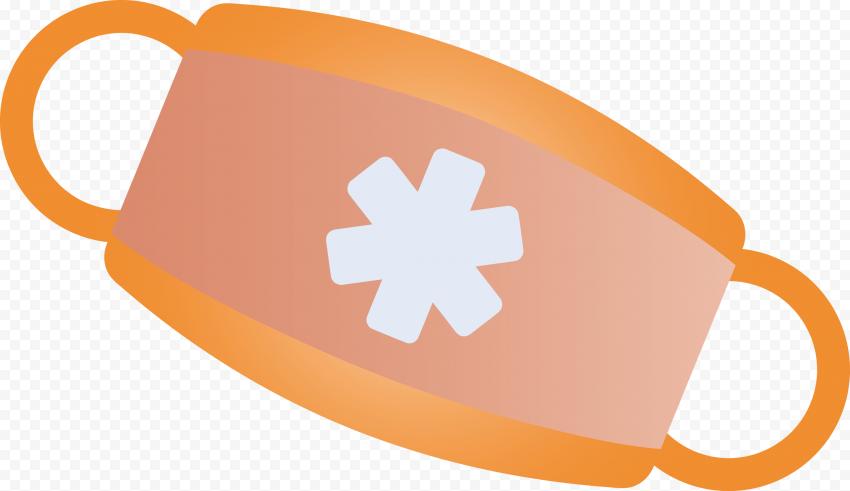 Orange Surgical Emergency Mask With Asterisk Icon