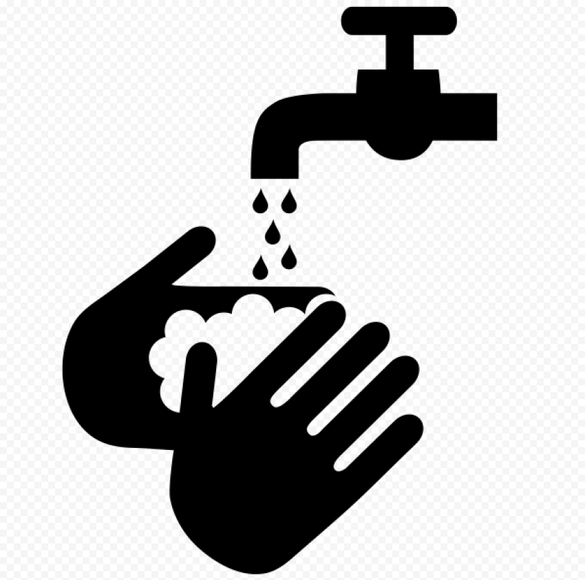 Black Hand Washing Soap Water Hygiene Clipart Icon