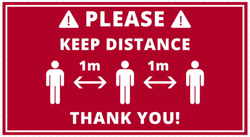 Red Please Keep Distance 1M Pandemic Free Signage