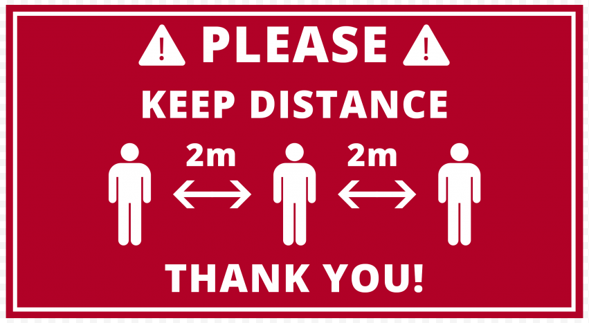 Red Please Keep Distance 2M Pandemic Free Signage