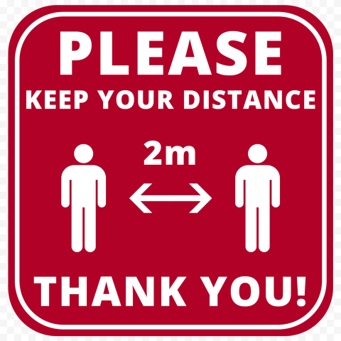Social Red Please Keep Your Distance 2M Free Sign