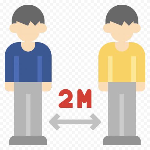 2M Social Distance Coronavirus Safety Vector Icon