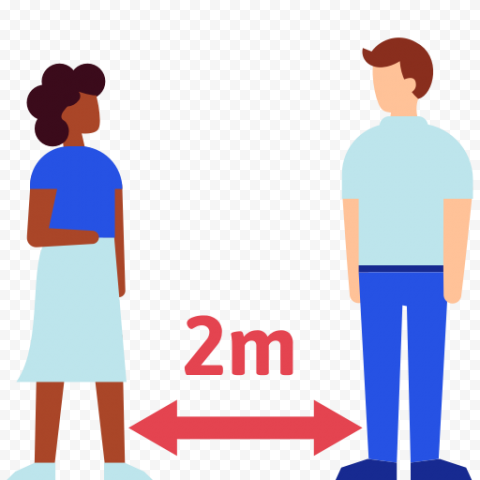 2M Social Distance Coronavirus Safety Cartoon Icon