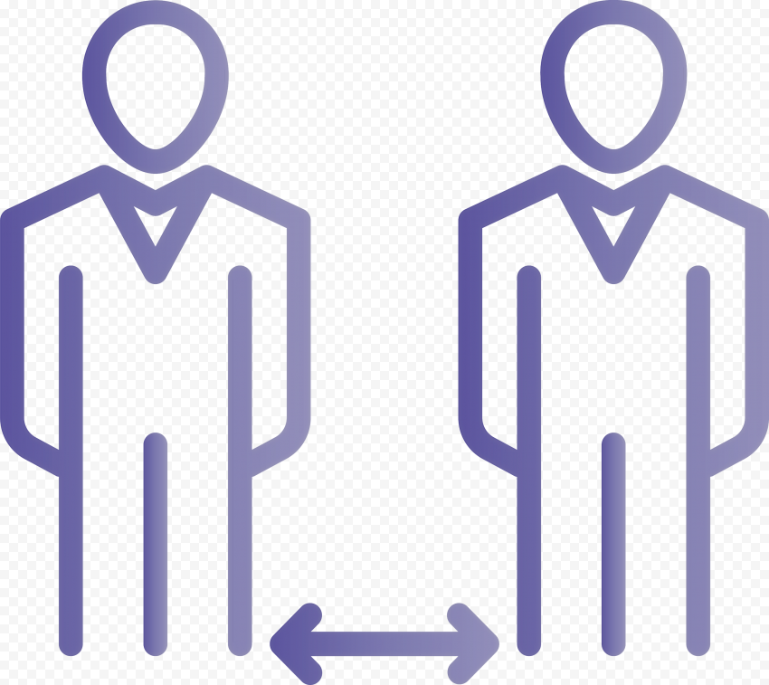 Two Persons Arrow Keep Social Distance Icon Vector
