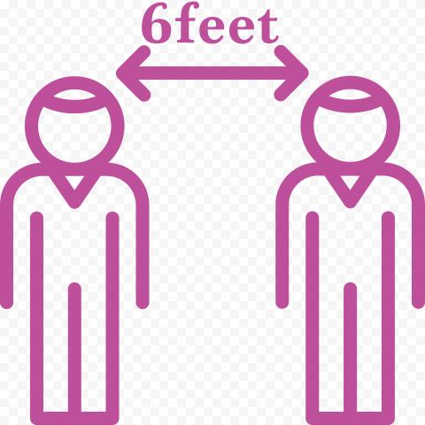 6feet Persons Arrow Social Distance Icon Vector