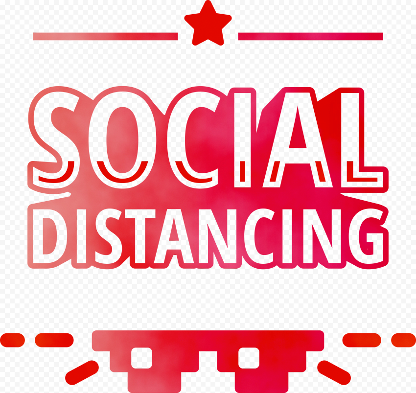 Red Social Distancing Logo Safety Icon Vector