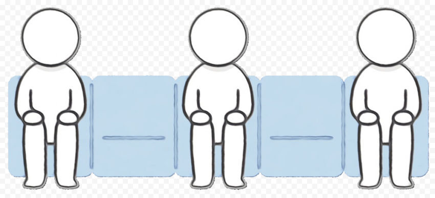 Sit Down Persons With Social Distance Clipart Icon
