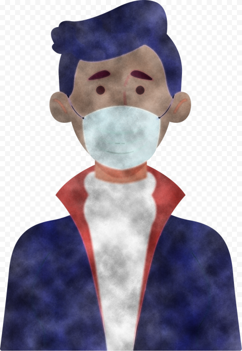 Cartoon Man Wear Dust Pollution Surgical Mask