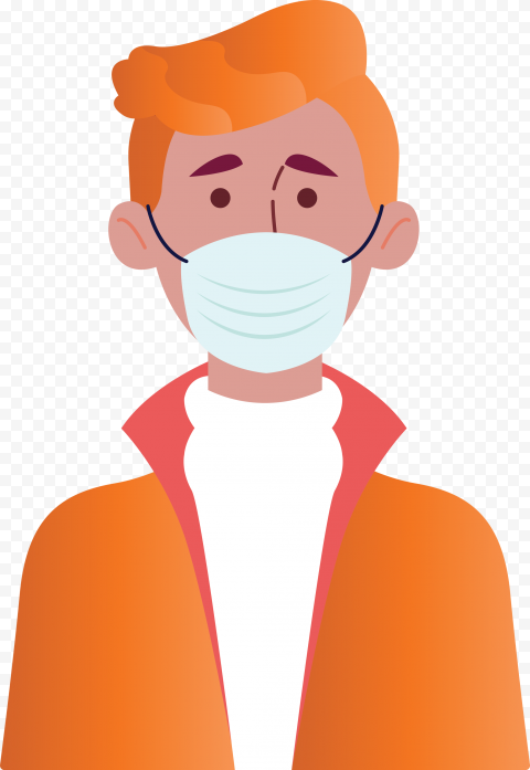 Cartoon Man Wear Surgical Mask Coronavirus Vector