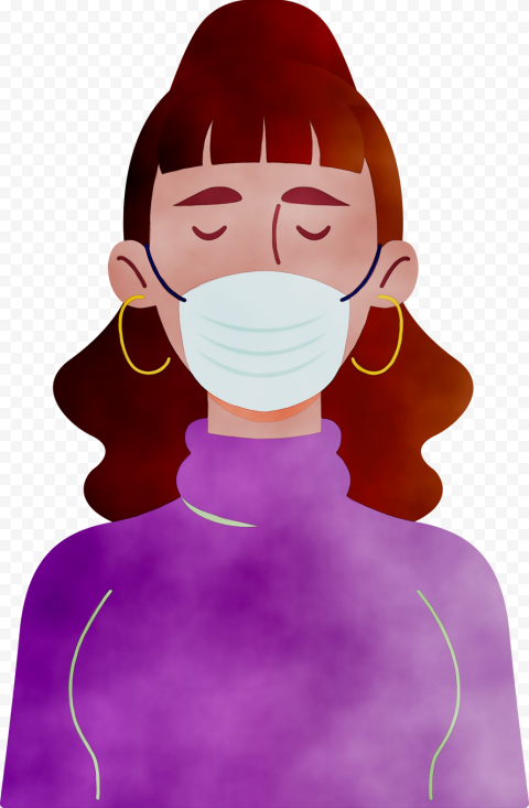 Cartoon Woman Wear Surgical Pandemic Virus Mask