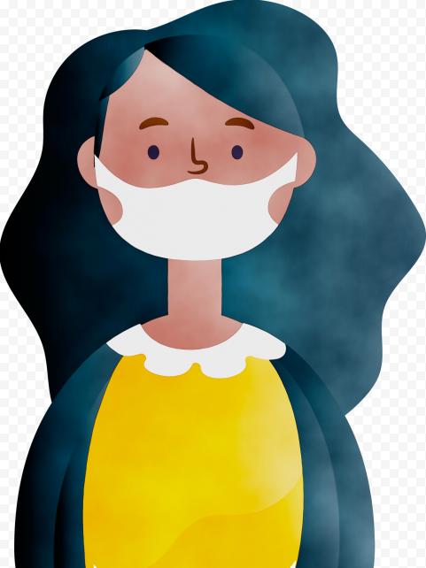 Cartoon Girl Wear Surgical Pandemic Virus Mask