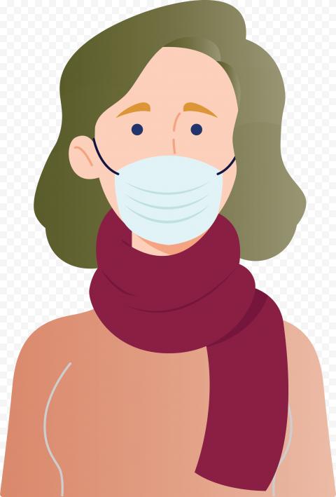 Cartoon Woman Wear Surgical Mask Covid19 Vector