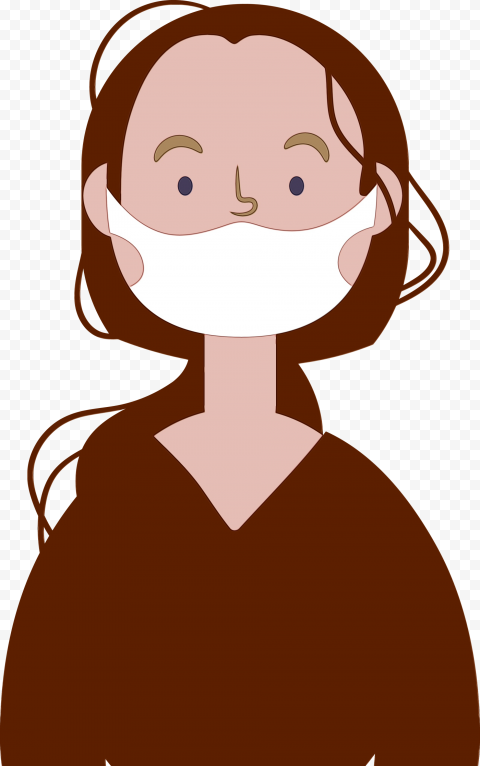 Cartoon Woman With Surgical Mask Safety Vector