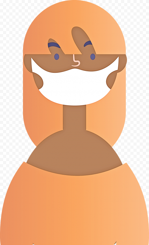 Cartoon African Woman With Surgical Mask Vector