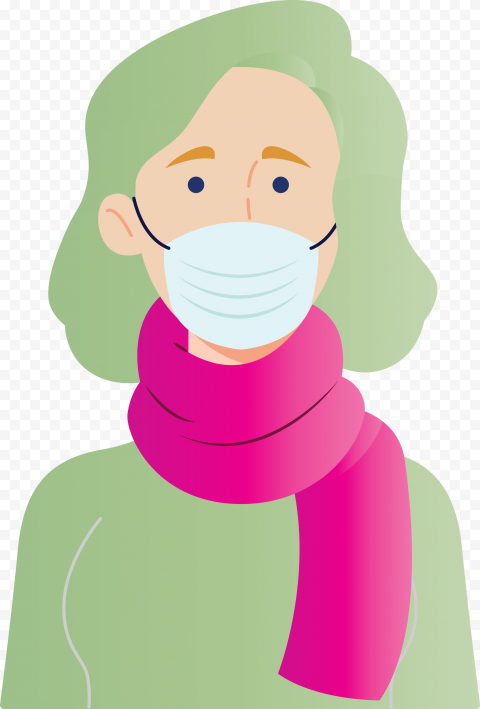 Cartoon Woman Wear Pandemic Disease Mask Vector