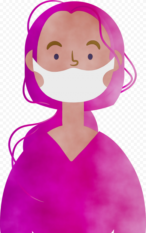Cartoon Girl Character Wear Medical Mask Clipart