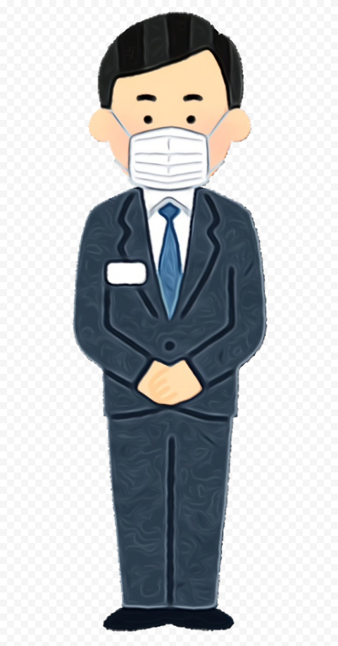 Cartoon Businessman Wear Surgical Pandemic Mask