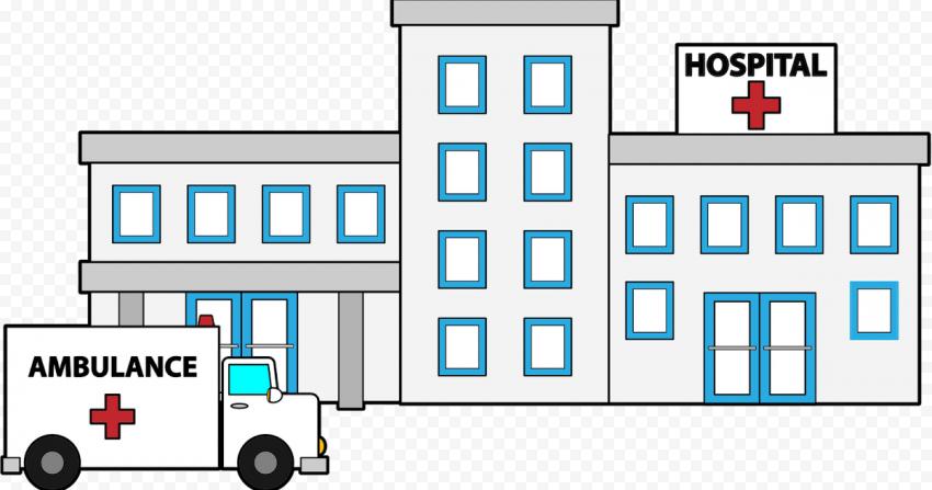 Cartoon Hospital Emergency Ambulance Clipart