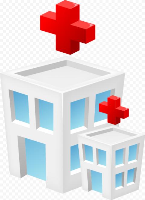 3D Cartoon Hospital Isometric Icon Red Cross