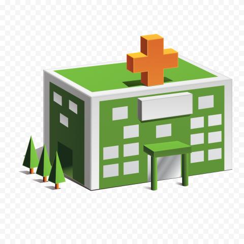 3D Cartoon Hospital Isometric Icon Illustration