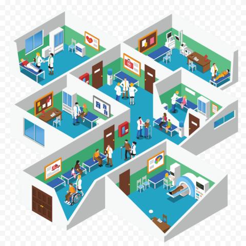 3D Hospital Isometric Health Care Interior Room
