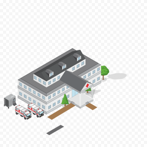 3D Cartoon Hospital Health Isometric Illustration