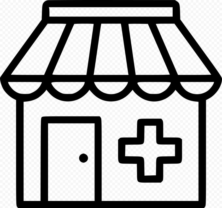 Outline Pharmacy Store Drugstore Black Icon
