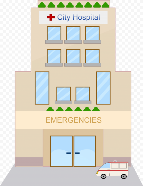 City Hospital Emergencies Ambulance Vector Icon