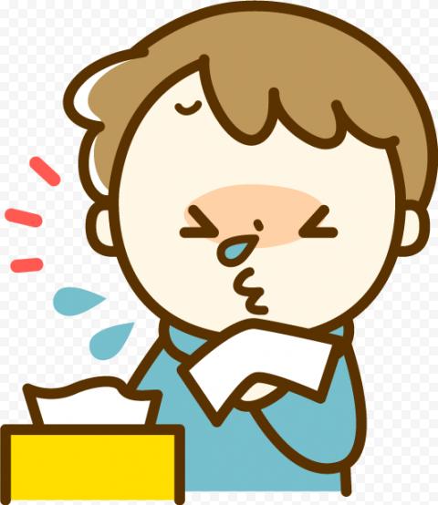 Sick Boy Kid Cartoon Tissue Paper Fluenza Wet