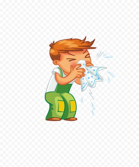 Standing Sick Kid Cartoon Cough Napkin Fluenza Wet