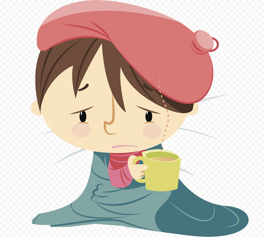 Cartoon Sick Little Girl Fever Illustratio Clipart