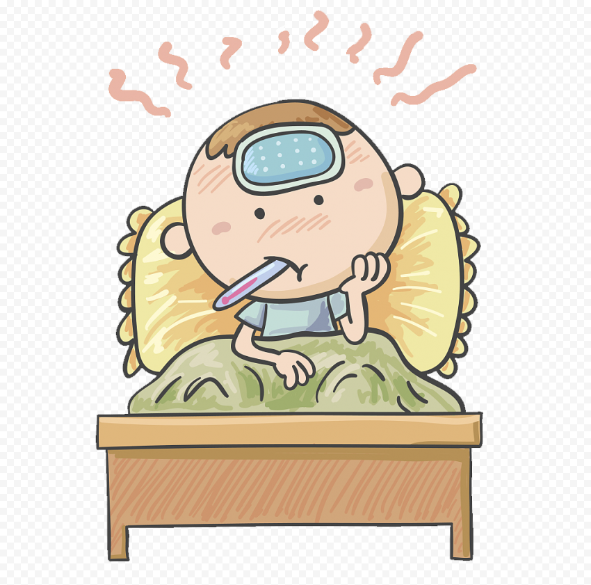 Clipart Sick Child Fever Bed Mouth Thermometer