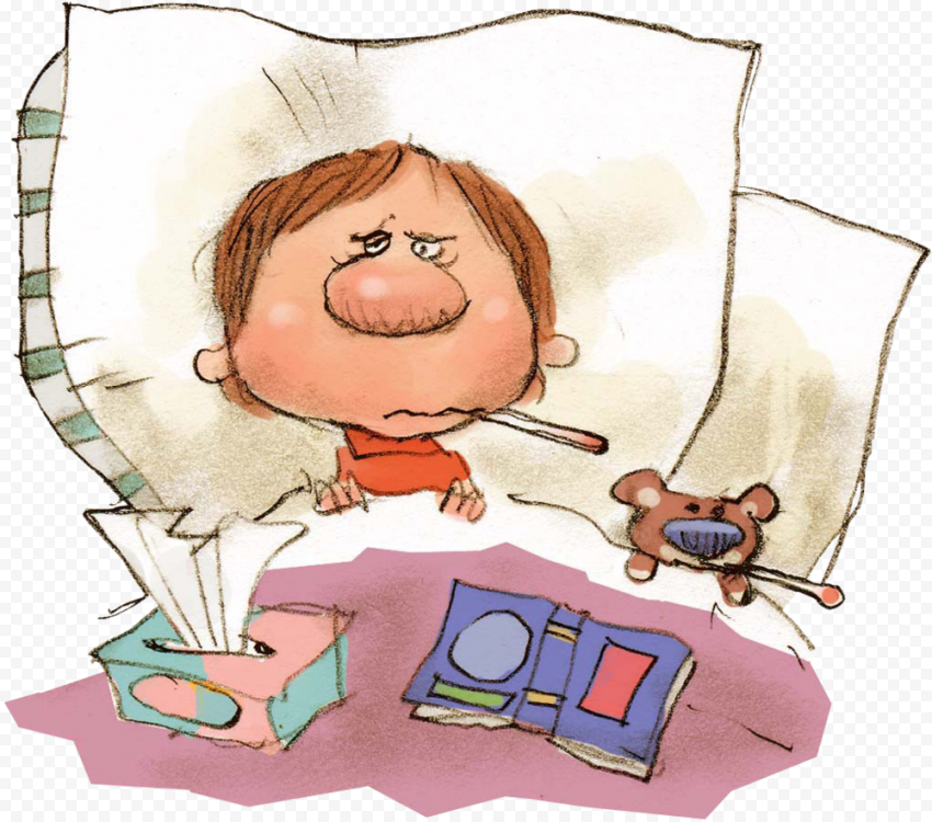 Clipart Animated Sick Child Fever Bed Mouth Thermometer