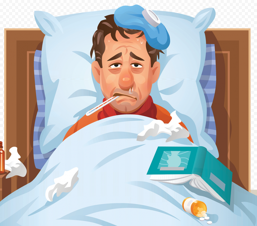 Illustration Sick Man Fever Bed Mouth Thermometer