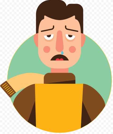 Illustration Sick Person Man Flu Cold Icon Cartoon