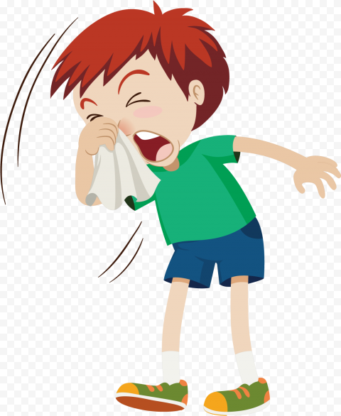 Cartoon Sick Kid Flu Cough Runny Clean Nose Clipar