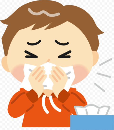 Sick Child Flu Clean His Nose With Napkin Clipart