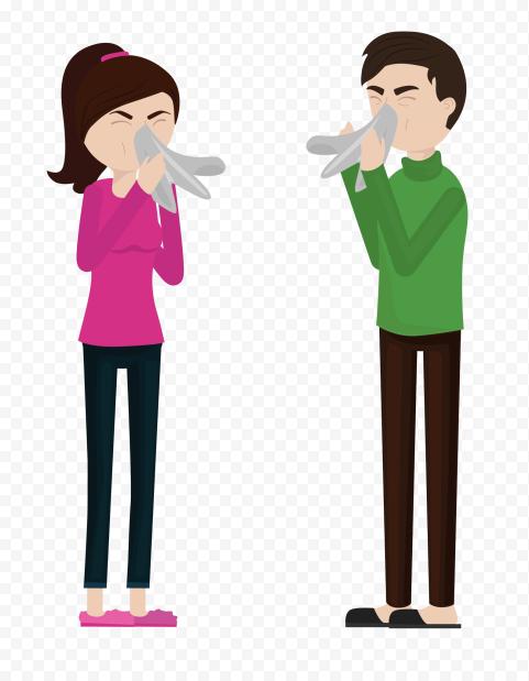 Sick Man & Woman Have Cough Napkin Nose Cartoon