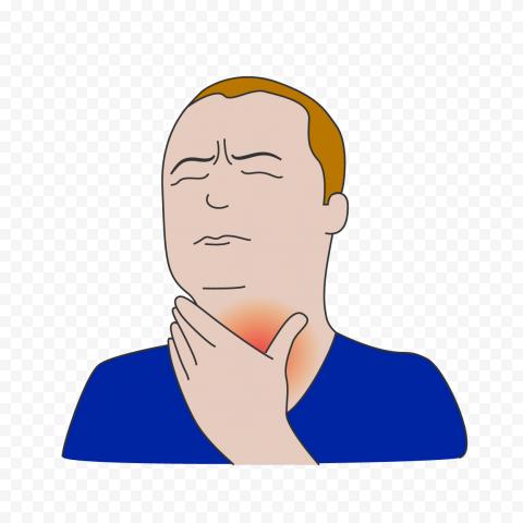 Cartoon Sick Man Person Has Hurts Throat Icon