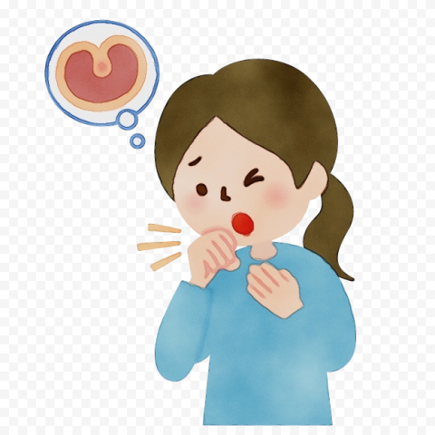 Cartoon Sick Little Girl Cough Sore Throat Clipart