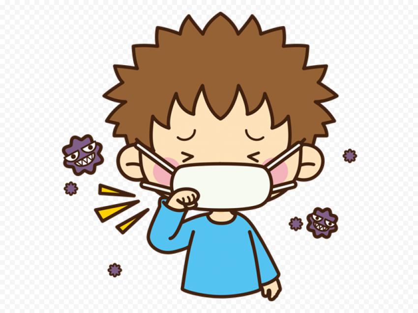 Cartoon Sick Little Boy Flu Coughing Wear Mask