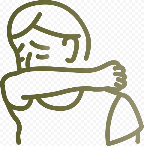 Sick Man Outline Cover Coughing Elbow Vector Icon