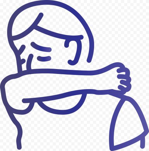 Sick Person Outline Cover Cough Elbow Vector Icon