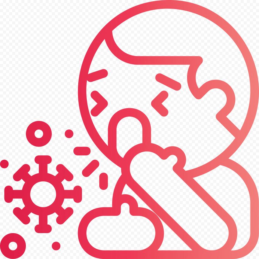 Sick Person Outline Wet Cough Bacteria Vector Icon