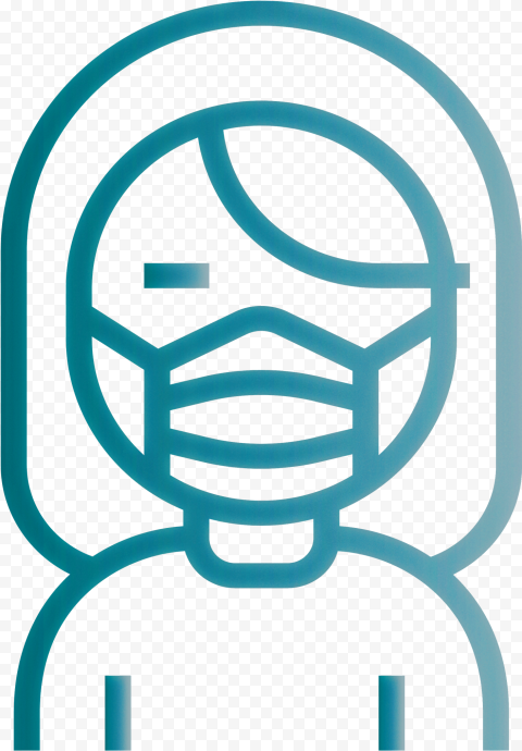 Sick Female Wear Surgical Mask Icon Outline Vector