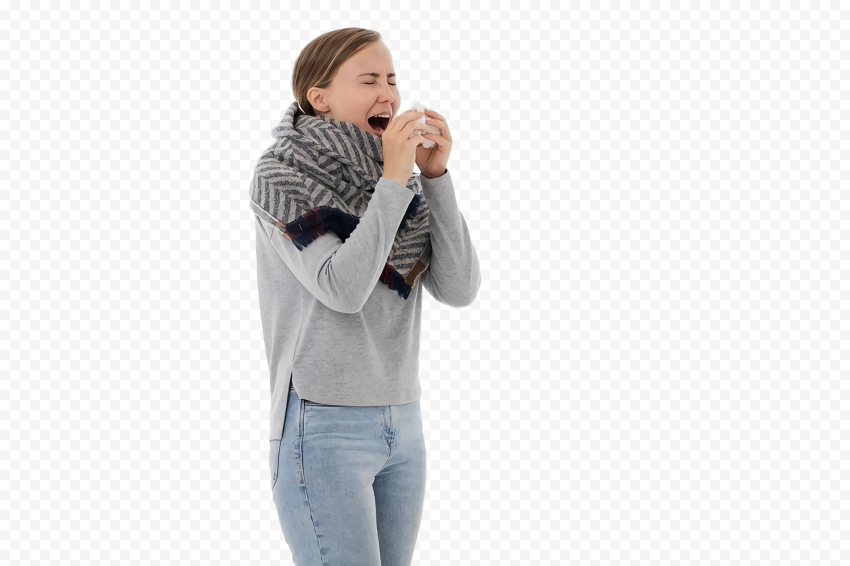 Sick Standing Female Human Coughing Common Cold